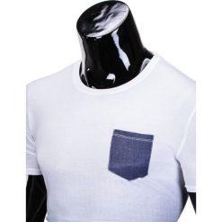 T-shirty męskie: T-SHIRT MĘSKI BEZ NADRUKU S427 – BIAŁY/GRANATOWY