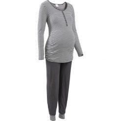 Piżamy damskie: Piżama dla karmiących bonprix antracytowo – ecru w paski