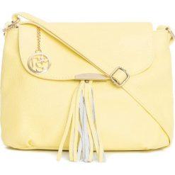 Torebki klasyczne damskie: Skórzana torebka w kolorze żółtym – 27 x 22 x 10 cm
