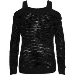 Swetry klasyczne damskie: Sweter ażurowy z wycięciami bonprix czarny