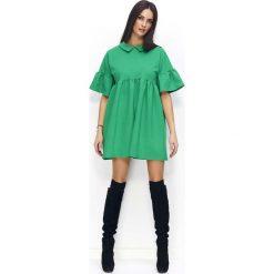 Zielona Sukienka Trapezowa z Falbankami na Rękawach. Szare sukienki dresowe marki bonprix, melanż, z kapturem, z długim rękawem, maxi. Za 119,90 zł.