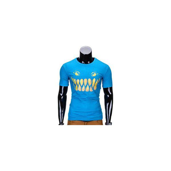 6980d99322 T-SHIRT MĘSKI Z NADRUKIEM S814 - TURKUSOWY - Niebieskie t-shirty męskie  Ombre Clothing