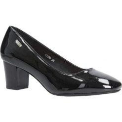 Czarne czółenka lakierowane na słupku Sergio Leone 13180. Czarne buty ślubne damskie marki Sergio Leone. Za 59,99 zł.