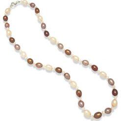 Naszyjniki damskie: Naszyjnik z pereł w kolorze złoto-brązowym – dł. 43 cm