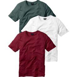 T-shirt (3 szt.) bonprix bordowy + ciemnozielony + biały. Niebieskie t-shirty męskie marki Reserved, l, z okrągłym kołnierzem. Za 68,97 zł.