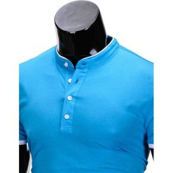 KOSZULKA MĘSKA POLO BEZ NADRUKU S848 - TURKUSOWA. Niebieskie koszulki polo Ombre Clothing, m, z nadrukiem. Za 29,00 zł.