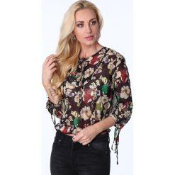 Bluzka cienka w kwiaty czarna MP28546. Czarne bluzki damskie Fasardi, l, w kwiaty. Za 55,20 zł.