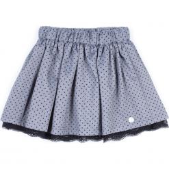 Spódnica. Szare spódniczki dziewczęce MOUSE, w koronkowe wzory, z bawełny. Za 49,90 zł.