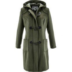 Płaszcz wełniany budrysówka bonprix ciemnooliwkowy. Zielone płaszcze damskie wełniane bonprix. Za 249,99 zł.