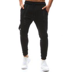 Joggery męskie: Spodnie męskie joggery czarne (ux1142)
