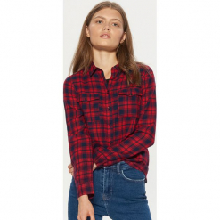 Koszula w kratę - Czerwony. Czerwone koszule wiązane damskie Cropp, l. Za 49,99 zł.