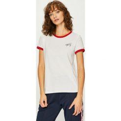 Tommy Jeans - Top. Szare topy damskie Tommy Jeans, l, z nadrukiem, z bawełny, z okrągłym kołnierzem. Za 179,90 zł.