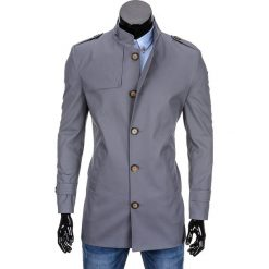 PŁASZCZ MĘSKI C269 - SZARY. Szare płaszcze na zamek męskie Ombre Clothing, m, z bawełny, eleganckie. Za 149,00 zł.