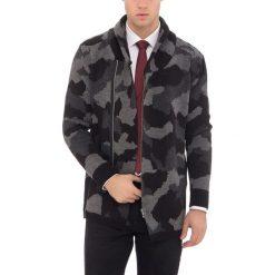 Swetry rozpinane męskie: Kardigan w kolorze czarnym ze wzorem