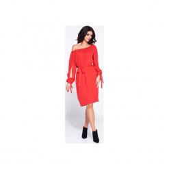 Sukienka z gumką na dekolcie i rozcięciem na rękawie. Czerwone sukienki balowe Bien fashion, na imprezę, l, w paski, z tkaniny. Za 129,00 zł.