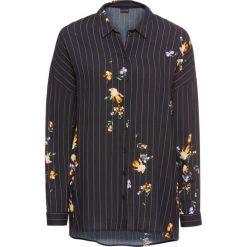 Długa bluzka bonprix czarno-biały z nadrukiem. Białe bluzki asymetryczne bonprix, z nadrukiem, z długim rękawem. Za 59,99 zł.