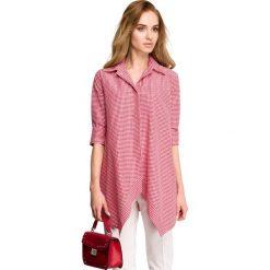 Asymetryczna Luźna Koszula w Czerwoną Drobną Kratkę. Czerwone koszule damskie w kratkę marki Molly.pl, l, z jeansu, z asymetrycznym kołnierzem. Za 119,90 zł.