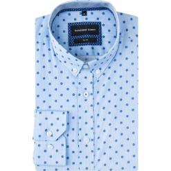Koszula SIMONE slim KDNS000640. Niebieskie koszule męskie na spinki Giacomo Conti, m, w kwiaty, z bawełny, button down, z długim rękawem. Za 229,00 zł.