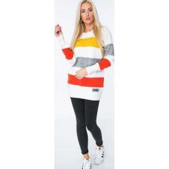 Swetry damskie: Sweter w pasy / miodowy MISC001