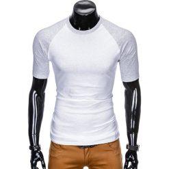 T-SHIRT MĘSKI BEZ NADRUKU S877 - BIAŁY/SZARY. Zielone t-shirty męskie z nadrukiem marki Ombre Clothing, na zimę, m, z bawełny, z kapturem. Za 29,00 zł.