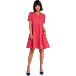 Sukienki: Sukienka mini odcinana pod biustem - różowa