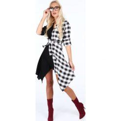 Sukienki: Sukienka asymetryczna w kratkę czarna 50360