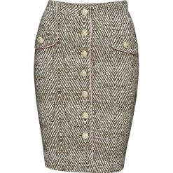 Spódnica bonprix kremowo-zielony khaki wzorzysty. Białe spódniczki marki bonprix, z materiału. Za 109,99 zł.