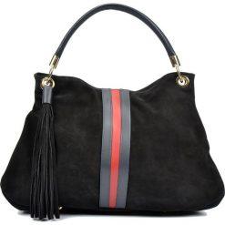 Torebki klasyczne damskie: Skórzana torebka w kolorze czarnym – 33 x 44 x 15 cm