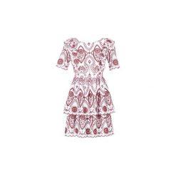 Sukienki krótkie Naf Naf  EAST. Czerwone sukienki mini marki NAF NAF, z krótkim rękawem. Za 367,20 zł.