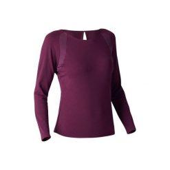 Koszulka długi rękaw Gym & Pilates 900 damska. Fioletowe bluzki sportowe damskie marki DOMYOS, l, z bawełny. W wyprzedaży za 69,99 zł.