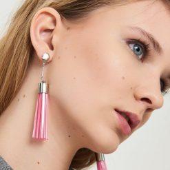 Kolczyki damskie: Długie kolczyki na sztyft – Różowy