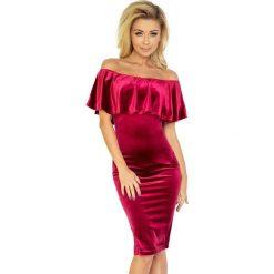 Giovanna Sukienka hiszpanka - welur BURGUND. Fioletowe sukienki hiszpanki marki Reserved, z falbankami. Za 159,00 zł.