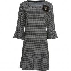 Sukienka z dżerseju, rękawy 3/4 bonprix czarno-biały w kratę. Białe sukienki balowe bonprix, z dżerseju. Za 129,99 zł.