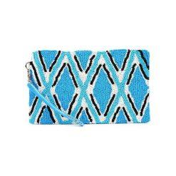 Kopertówki damskie: Kopertówka w kolorze biało-niebiesko-czarnym – (D)25 x (S)15 cm