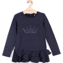 Koszulka. Czarne bluzki dziewczęce bawełniane marki ELEGANT BABY GIRL, z falbankami, z długim rękawem. Za 49,90 zł.