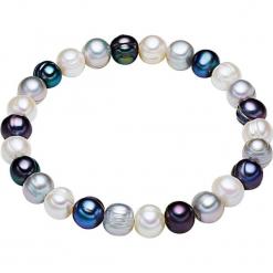 Bransoletka perłowa w kolorze biało-srebrno-granatowym. Białe bransoletki damskie marki Pearls Special, srebrne. W wyprzedaży za 45,95 zł.