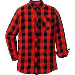 Długa koszula z długim rękawem Regular Fit bonprix czarno-czerwony w kratę. Białe koszule męskie na spinki marki bonprix, z klasycznym kołnierzykiem, z długim rękawem. Za 59,99 zł.