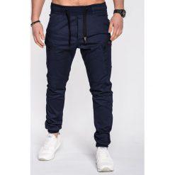 SPODNIE MĘSKIE JOGGERY P474 - GRANATOWE. Niebieskie joggery męskie Ombre Clothing, z bawełny. Za 89,00 zł.