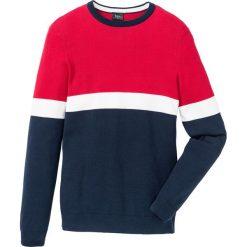 Sweter Regular Fit bonprix ciemnoniebiesko-czerwony. Niebieskie swetry klasyczne męskie marki bonprix, l. Za 74,99 zł.