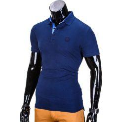 KOSZULKA MĘSKA POLO BEZ NADRUKU S837 - GRANATOWA. Czarne koszulki polo marki Ombre Clothing, m, z bawełny, z kapturem. Za 29,00 zł.