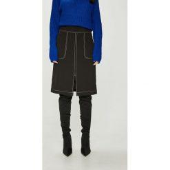 Answear - Spódnica. Szare spódniczki ołówkowe marki ANSWEAR, l, z elastanu, z podwyższonym stanem, midi. W wyprzedaży za 99,90 zł.