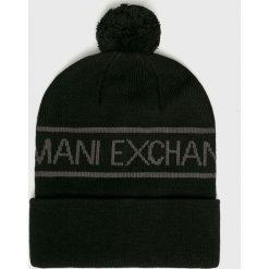 Armani Exchange - Czapka. Czarne czapki zimowe męskie marki Armani Exchange, l, z materiału, z kapturem. Za 239,90 zł.
