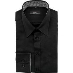 Koszula ENRICO slim 14-12-28. Czarne koszule męskie na spinki Giacomo Conti, m, w geometryczne wzory, z bawełny, z klasycznym kołnierzykiem, z długim rękawem. Za 149,00 zł.
