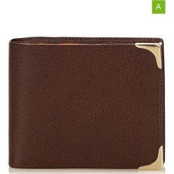 Portfele damskie: Skórzany portfel w kolorze brązowym – 11 x 9,5 x 2 cm