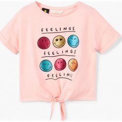 Mango Kids - Top dziecięcy Smileye 110-164 cm. Szare bluzki dziewczęce bawełniane Mango Kids, z nadrukiem, z okrągłym kołnierzem. Za 59,90 zł.