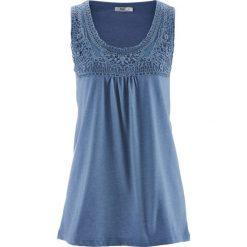 Top bawełniany z koronką bonprix niebieski dżins. Niebieskie topy damskie bonprix, w koronkowe wzory, z bawełny. Za 34,99 zł.