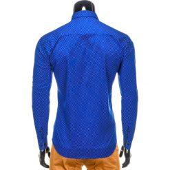 KOSZULA MĘSKA ELEGANCKA Z DŁUGIM RĘKAWEM K326 - NIEBIESKA. Brązowe koszule męskie marki Ombre Clothing, m, z aplikacjami, z kontrastowym kołnierzykiem, z długim rękawem. Za 39,00 zł.