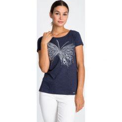 Bluzki asymetryczne: Granatowa bluzka z motylem  QUIOSQUE