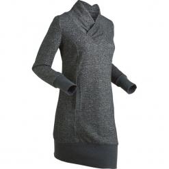 Sukienka dresowa, długi rękaw bonprix czarny melanż. Szare długie sukienki marki bonprix, melanż, z dresówki, z kapturem, z długim rękawem. Za 109,99 zł.