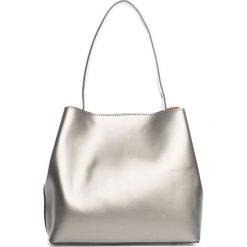 Torebki klasyczne damskie: Skórzana torebka w kolorze srebrnym – 50 x 35 x 12 cm